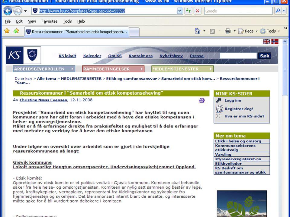 20.11.2014 Bjørgene Omsorgssenter Undervisningssykehjem Annbjørg Lunde Etikk prosjekt i pleie- og omsorg Etiske refleksjonsgruppe i avdelingen (nær bruker) 30 min.