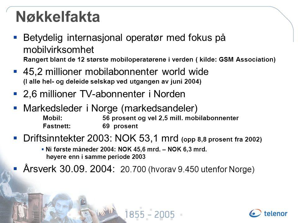 Nøkkelfakta  Betydelig internasjonal operatør med fokus på mobilvirksomhet Rangert blant de 12 største mobiloperatørene i verden ( kilde: GSM Association)  45,2 millioner mobilabonnenter world wide (I alle hel- og deleide selskap ved utgangen av juni 2004)  2,6 millioner TV-abonnenter i Norden  Markedsleder i Norge (markedsandeler) Mobil: 56 prosent og vel 2,5 mill.