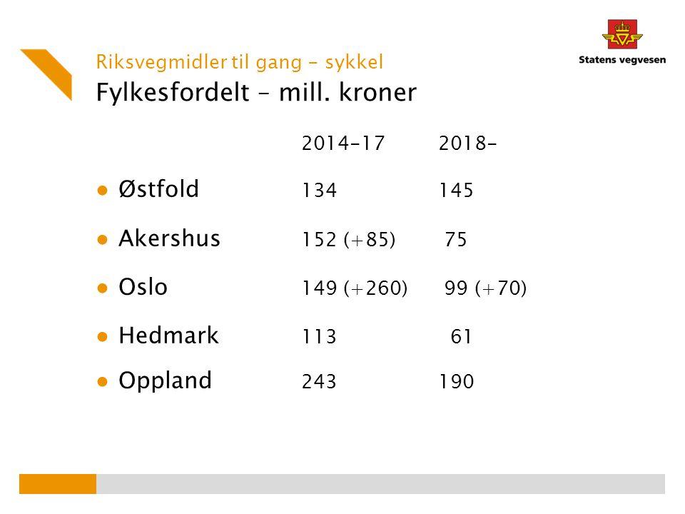 Utvalgte sykkelbyer i RØ 2010-2013 ● Østfold – Sarpsborg og Fredrikstad ● Akershus – Skedsmo, Ullensaker, Oppegård og Asker ● Hedmark – Hamar ● Oppland – Lillehammer og Gjøvik Nye sykkelbyer i 2014-17.