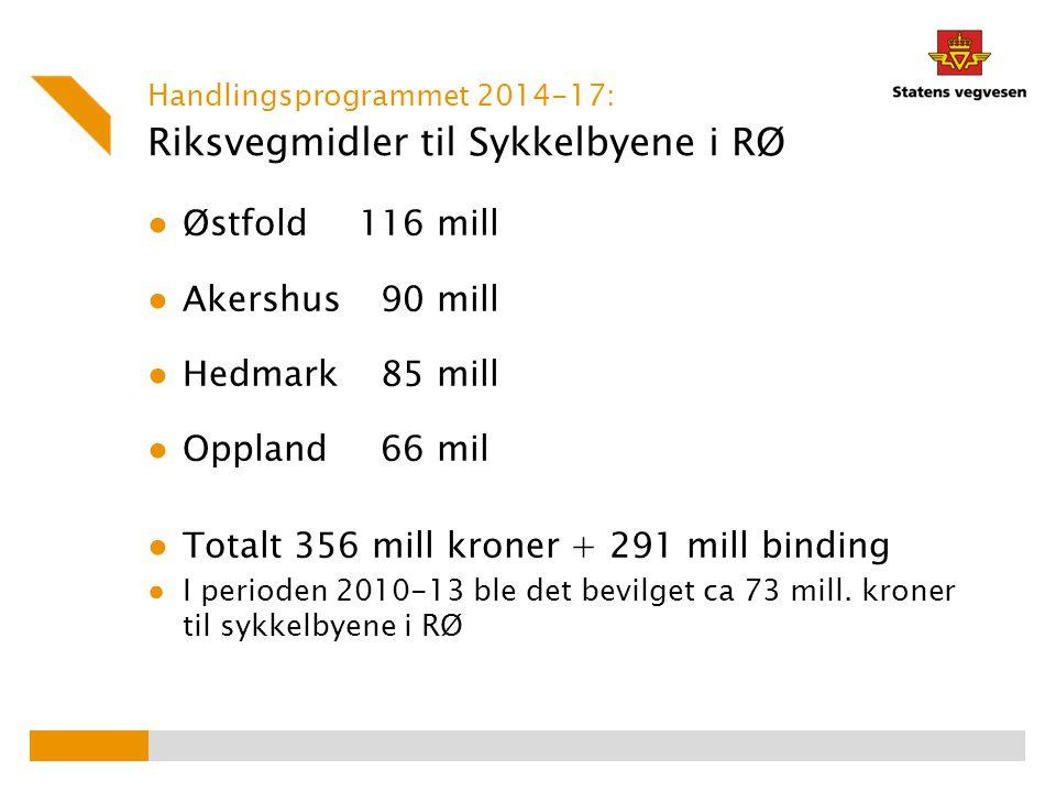 D/v-midler til utvalgte sykkelbyer i RØ Post 23 riksvegmidler Ordinære midler fra drift/vedlikeholdsbudsjettet benyttes til tiltak på riksveganlegg.