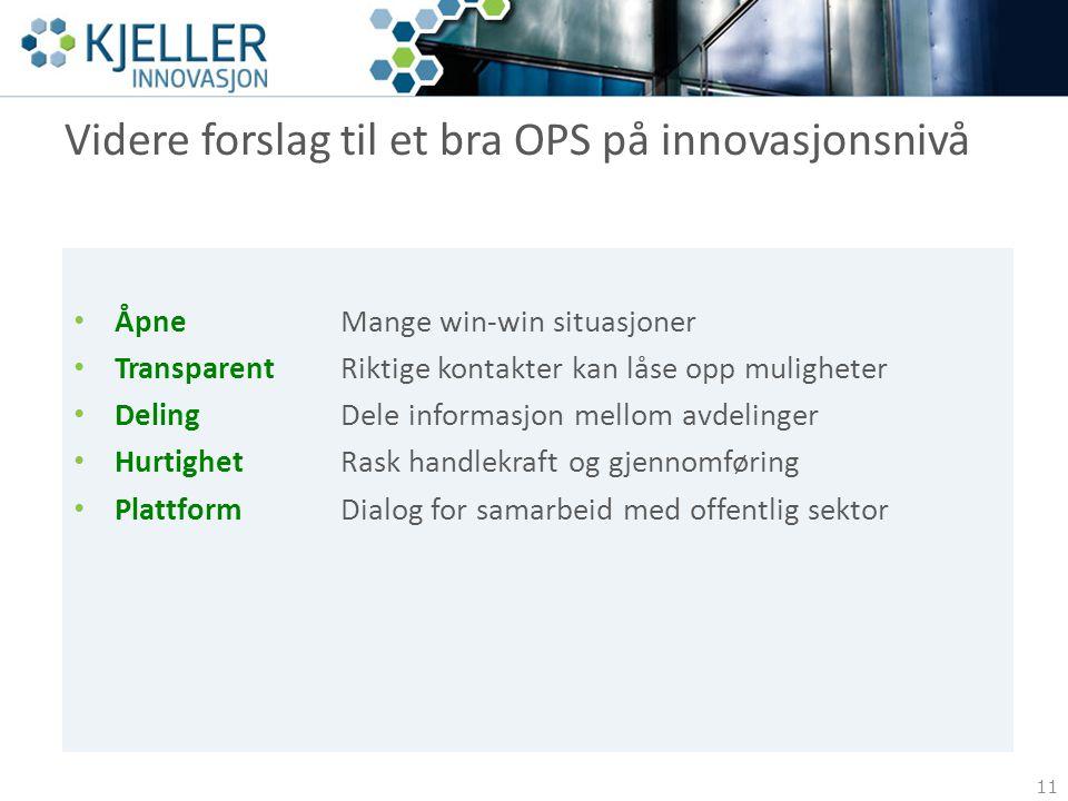Videre forslag til et bra OPS på innovasjonsnivå 11 ÅpneMange win-win situasjoner TransparentRiktige kontakter kan låse opp muligheter Deling Dele inf