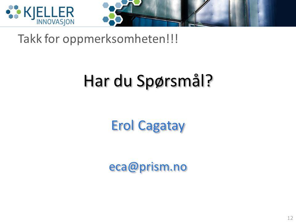 Takk for oppmerksomheten!!! 12 Har du Spørsmål? Erol Cagatay eca@prism.no Har du Spørsmål? Erol Cagatay eca@prism.no