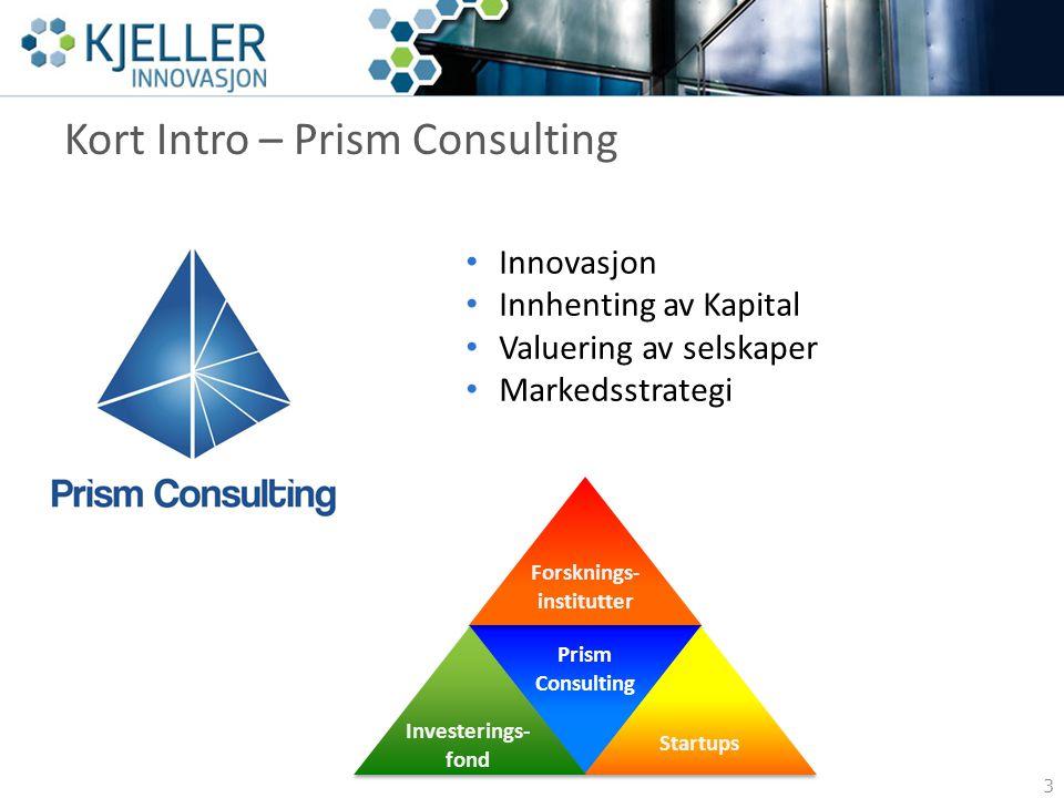 Kort Intro – Prism Consulting 3 Innovasjon Innhenting av Kapital Valuering av selskaper Markedsstrategi Investerings- fond Startups Prism Consulting Forsknings- institutter
