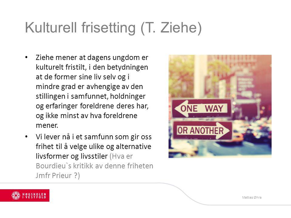 Kulturell frisetting (T. Ziehe) Ziehe mener at dagens ungdom er kulturelt fristilt, i den betydningen at de former sine liv selv og i mindre grad er a