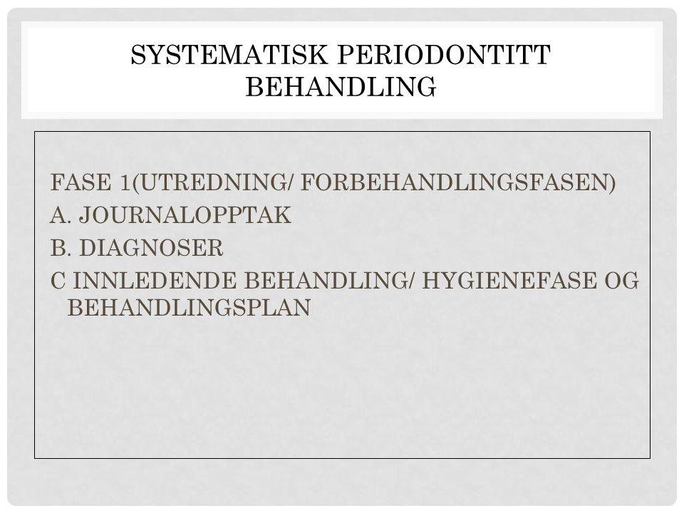 SYSTEMATISK PERIODONTITT BEHANDLING FASE 1(UTREDNING/ FORBEHANDLINGSFASEN) A. JOURNALOPPTAK B. DIAGNOSER C INNLEDENDE BEHANDLING/ HYGIENEFASE OG BEHAN