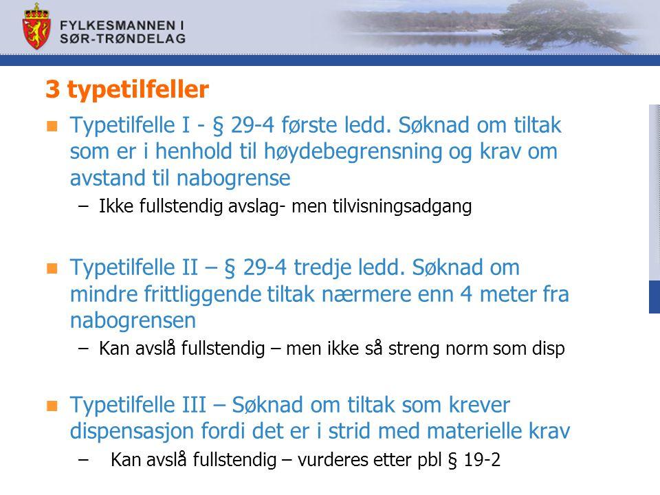 3 typetilfeller Typetilfelle I - § 29-4 første ledd. Søknad om tiltak som er i henhold til høydebegrensning og krav om avstand til nabogrense –Ikke fu