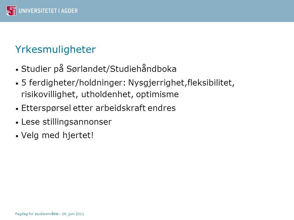 Yrkesmuligheter Studier på Sørlandet/Studiehåndboka 5 ferdigheter/holdninger: Nysgjerrighet,fleksibilitet, risikovillighet, utholdenhet, optimisme Ett