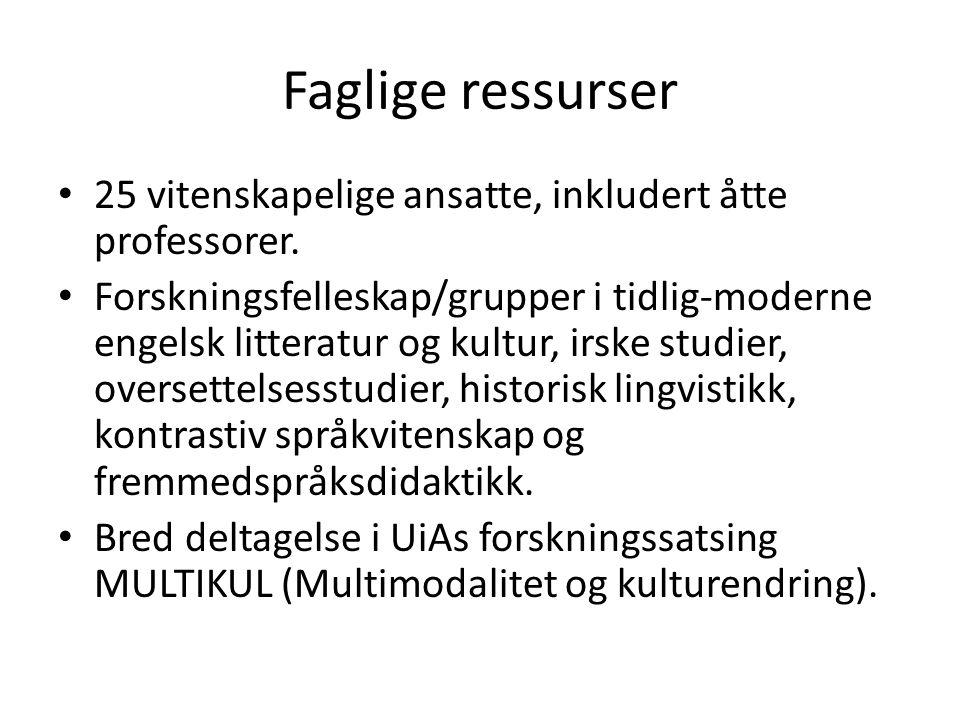 Faglige ressurser 25 vitenskapelige ansatte, inkludert åtte professorer. Forskningsfelleskap/grupper i tidlig-moderne engelsk litteratur og kultur, ir