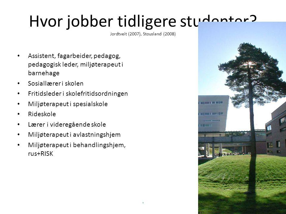 Hvor jobber tidligere studenter? Jordtveit (2007), Stousland (2008) Assistent, fagarbeider, pedagog, pedagogisk leder, miljøterapeut i barnehage Sosia