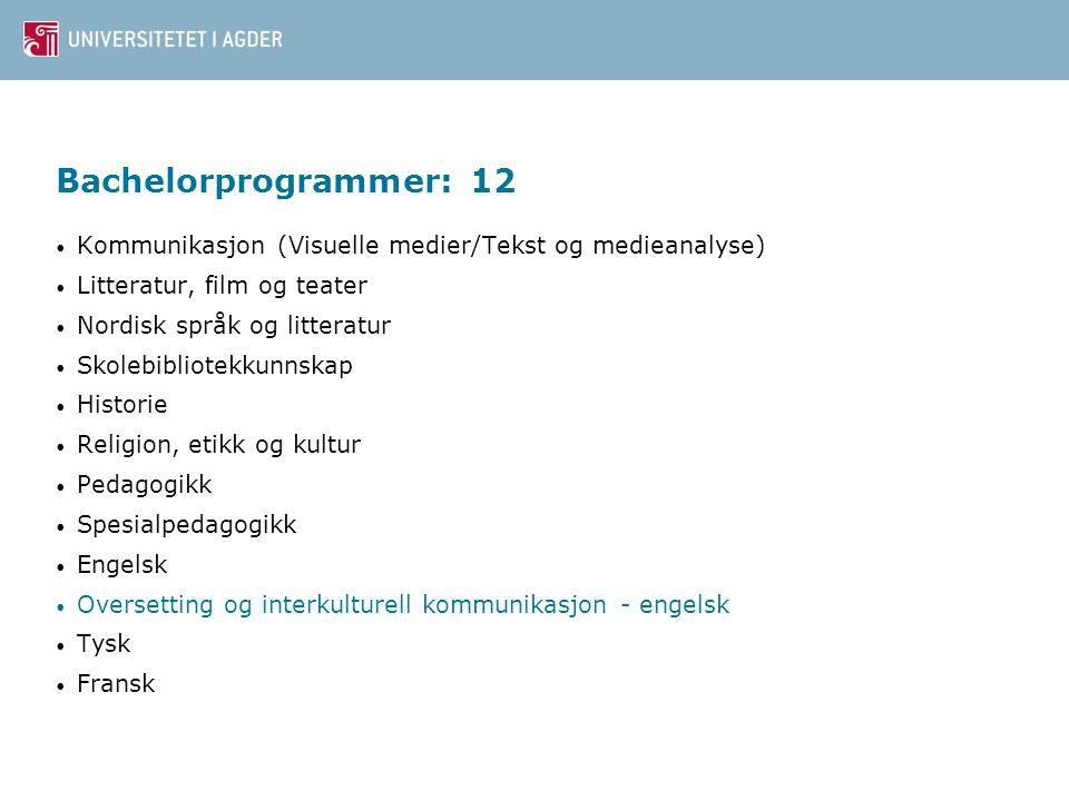 Bachelorprogrammer: 12 Kommunikasjon (Visuelle medier/Tekst og medieanalyse) Litteratur, film og teater Nordisk språk og litteratur Skolebibliotekkunn