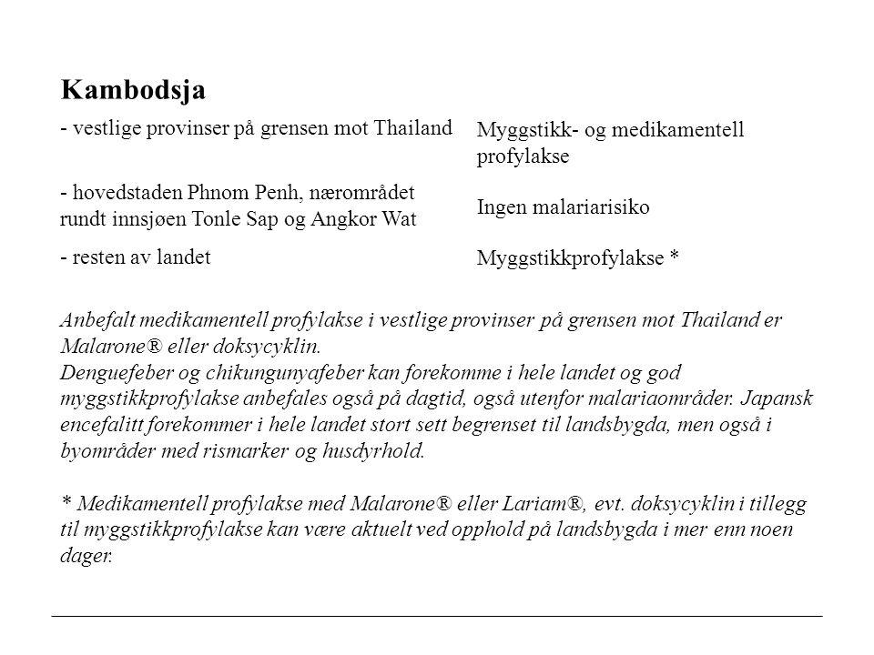 Kambodsja - vestlige provinser på grensen mot Thailand Myggstikk- og medikamentell profylakse - hovedstaden Phnom Penh, nærområdet rundt innsjøen Tonle Sap og Angkor Wat Ingen malariarisiko - resten av landet Myggstikkprofylakse * Anbefalt medikamentell profylakse i vestlige provinser på grensen mot Thailand er Malarone® eller doksycyklin.