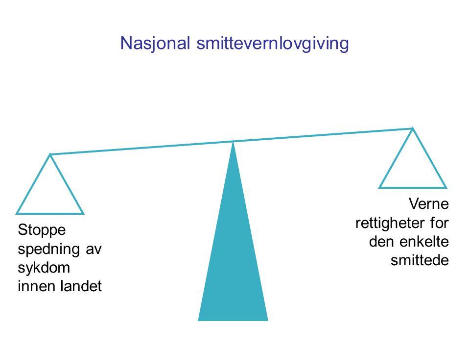 Nasjonal smittevernlovgiving Stoppe spedning av sykdom innen landet Verne rettigheter for den enkelte smittede