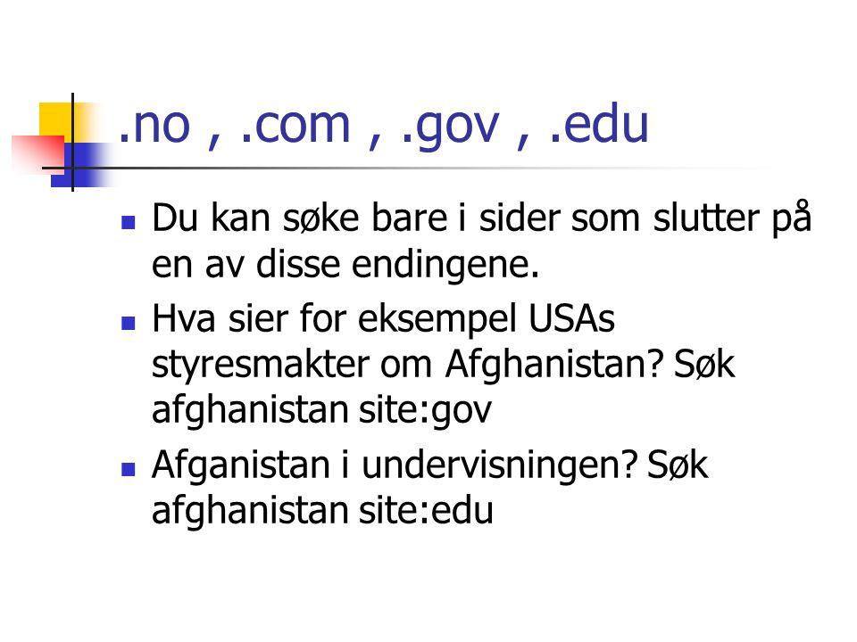 .no,.com,.gov,.edu Du kan søke bare i sider som slutter på en av disse endingene.