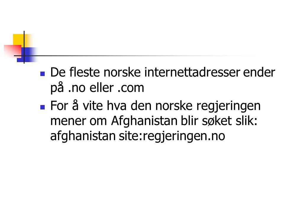 De fleste norske internettadresser ender på.no eller.com For å vite hva den norske regjeringen mener om Afghanistan blir søket slik: afghanistan site:regjeringen.no