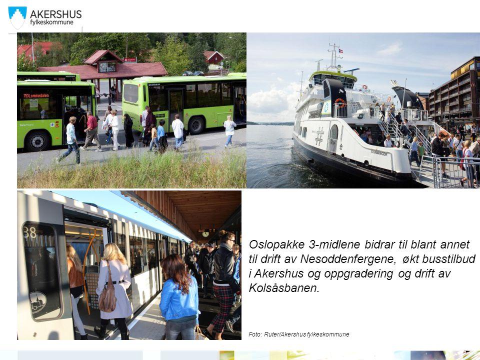 | Oslopakke 3-midlene bidrar til blant annet til drift av Nesoddenfergene, økt busstilbud i Akershus og oppgradering og drift av Kolsåsbanen.