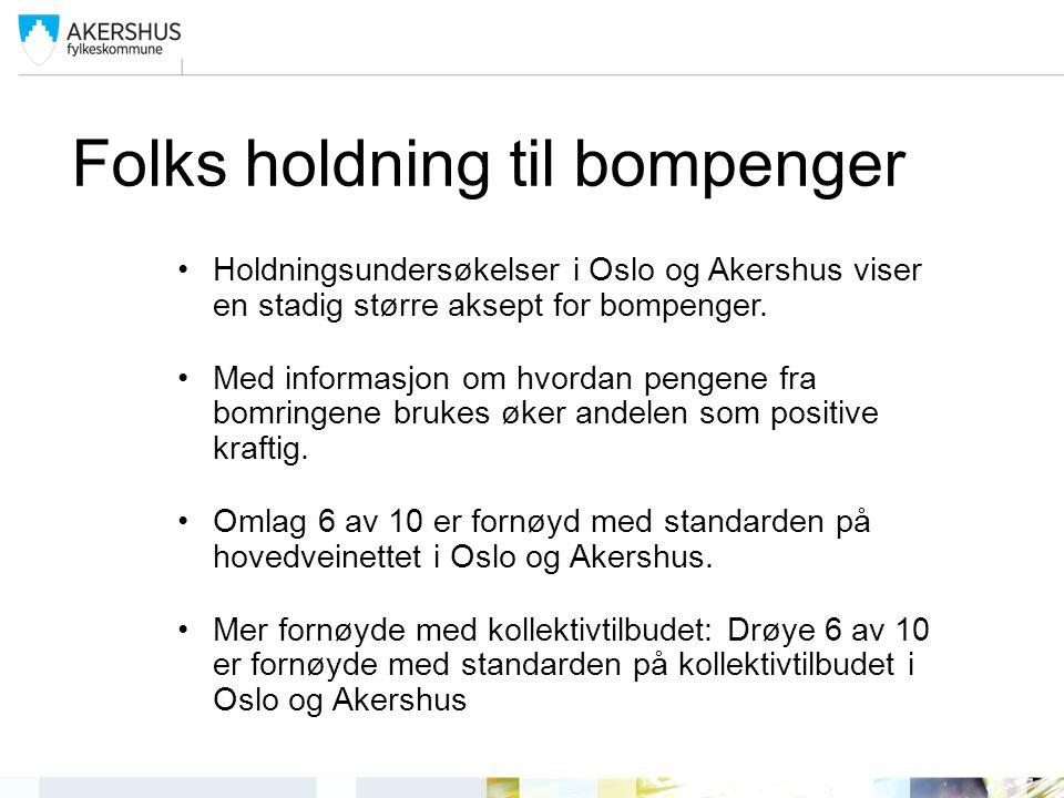 Folks holdning til bompenger Holdningsundersøkelser i Oslo og Akershus viser en stadig større aksept for bompenger.