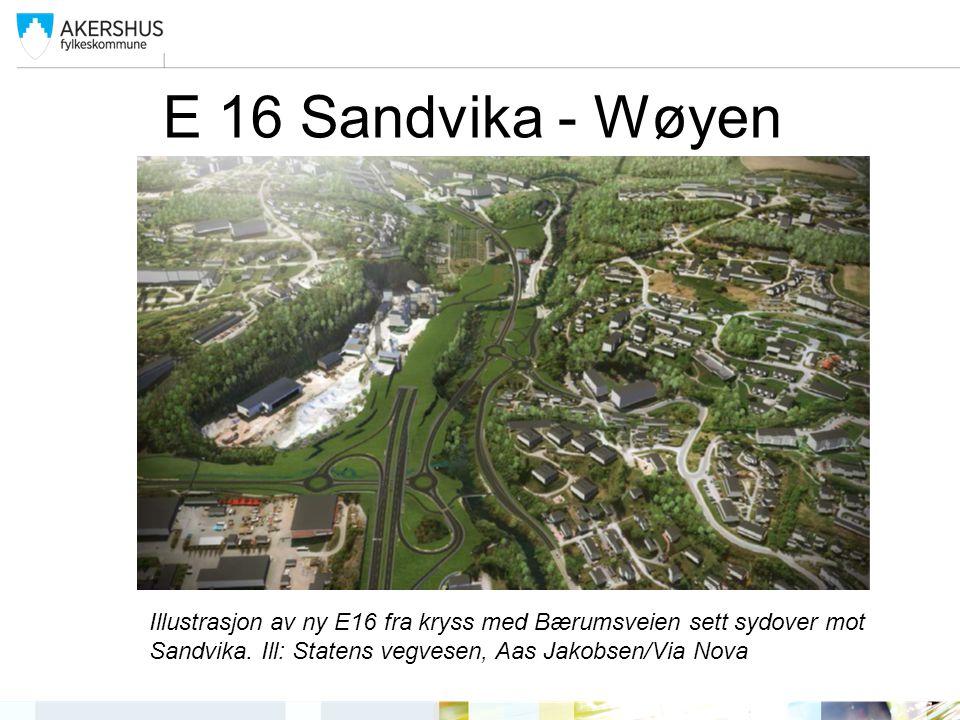 E 16 Sandvika - Wøyen Illustrasjon av ny E16 fra kryss med Bærumsveien sett sydover mot Sandvika.