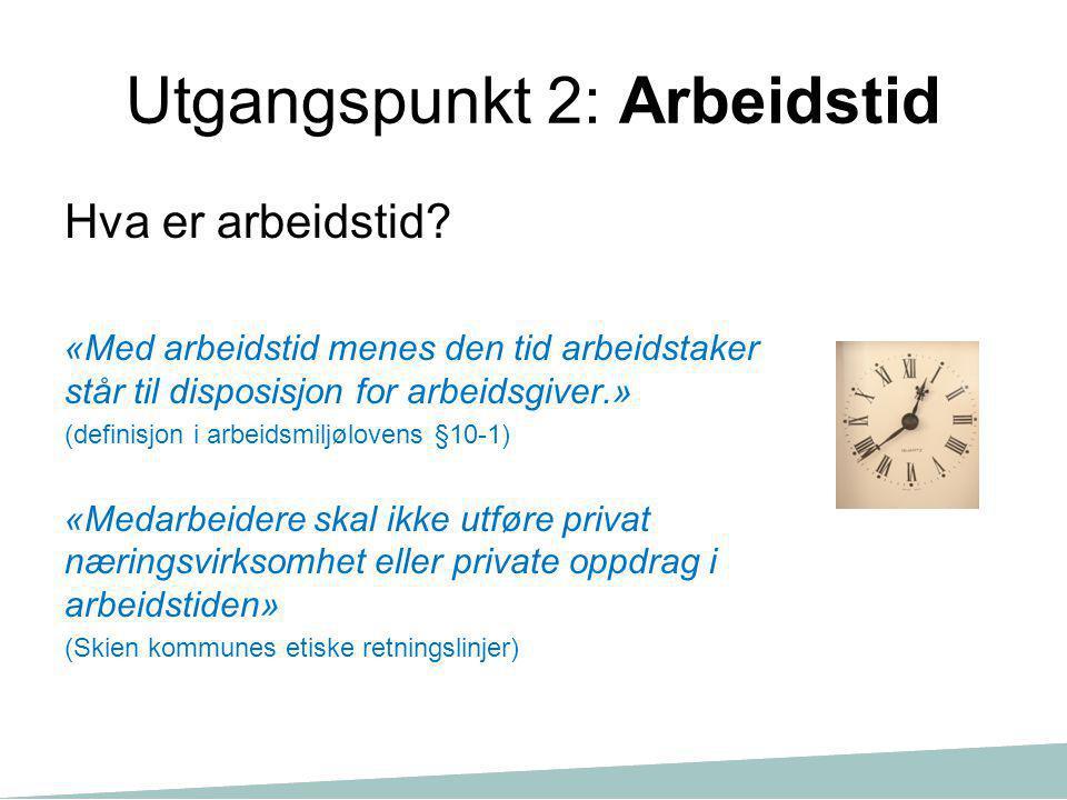 Utgangspunkt 2: Arbeidstid Hva er arbeidstid? «Med arbeidstid menes den tid arbeidstaker står til disposisjon for arbeidsgiver.» (definisjon i arbeids