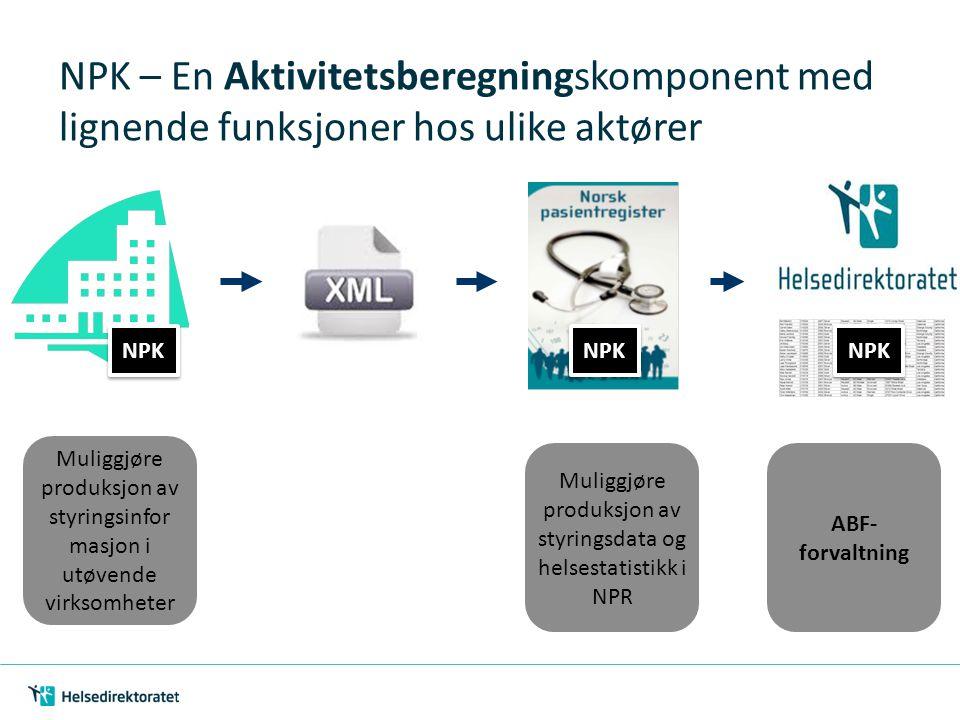 NPK – En Aktivitetsberegningskomponent med lignende funksjoner hos ulike aktører Muliggjøre produksjon av styringsinfor masjon i utøvende virksomheter