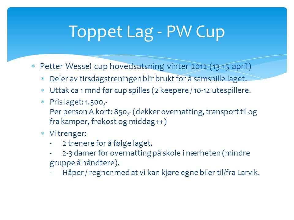  Petter Wessel cup hovedsatsning vinter 2012 (13-15 april)  Deler av tirsdagstreningen blir brukt for å samspille laget.