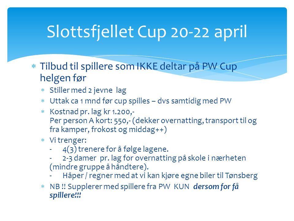  Tilbud til spillere som IKKE deltar på PW Cup helgen før  Stiller med 2 jevne lag  Uttak ca 1 mnd før cup spilles – dvs samtidig med PW  Kostnad pr.