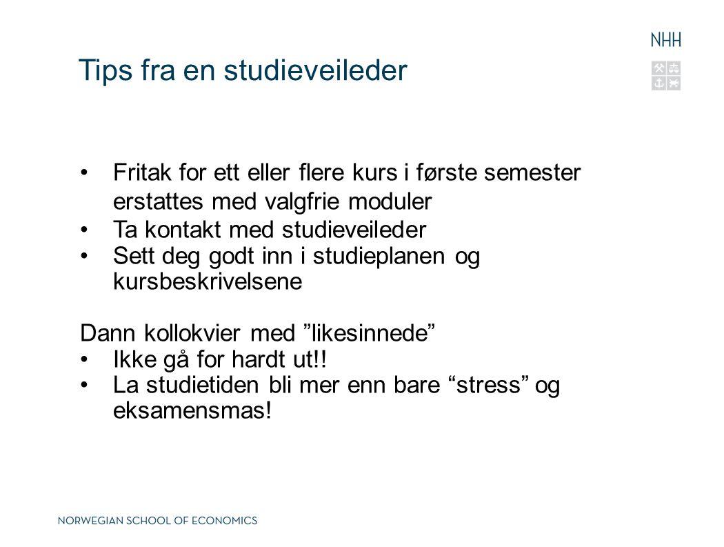 Tips fra en studieveileder Fritak for ett eller flere kurs i første semester erstattes med valgfrie moduler Ta kontakt med studieveileder Sett deg god