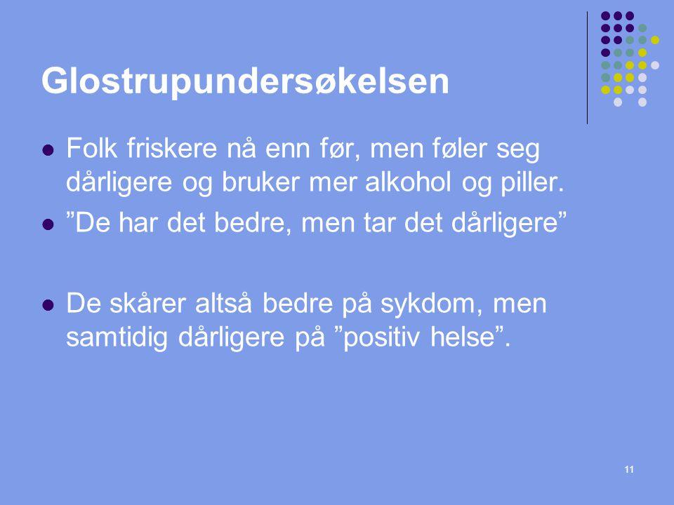 """11 Glostrupundersøkelsen Folk friskere nå enn før, men føler seg dårligere og bruker mer alkohol og piller. """"De har det bedre, men tar det dårligere"""""""