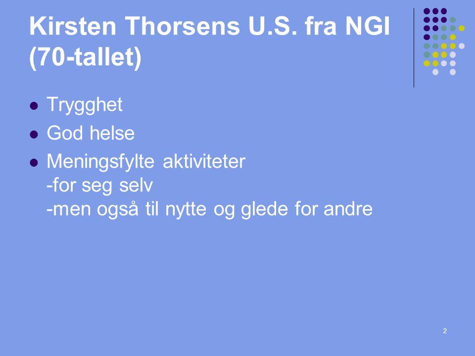 Kirsten Thorsens U.S. fra NGI (70-tallet) Trygghet God helse Meningsfylte aktiviteter -for seg selv -men også til nytte og glede for andre 2