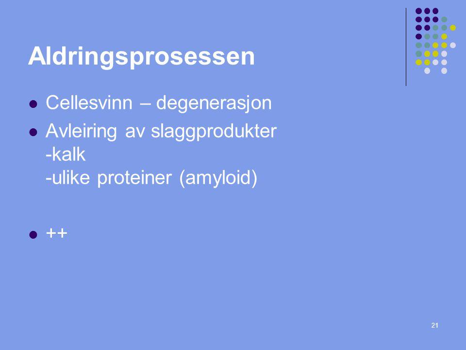 Aldringsprosessen Cellesvinn – degenerasjon Avleiring av slaggprodukter -kalk -ulike proteiner (amyloid) ++ 21
