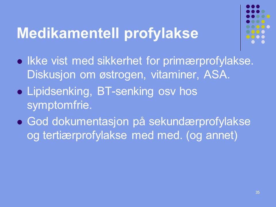 35 Medikamentell profylakse Ikke vist med sikkerhet for primærprofylakse. Diskusjon om østrogen, vitaminer, ASA. Lipidsenking, BT-senking osv hos symp