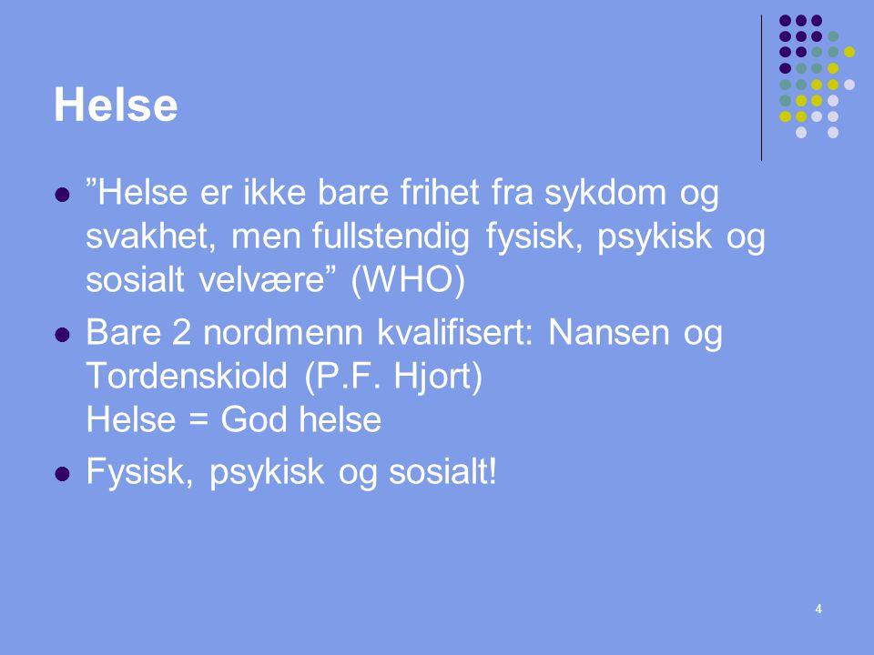 """4 Helse """"Helse er ikke bare frihet fra sykdom og svakhet, men fullstendig fysisk, psykisk og sosialt velvære"""" (WHO) Bare 2 nordmenn kvalifisert: Nanse"""