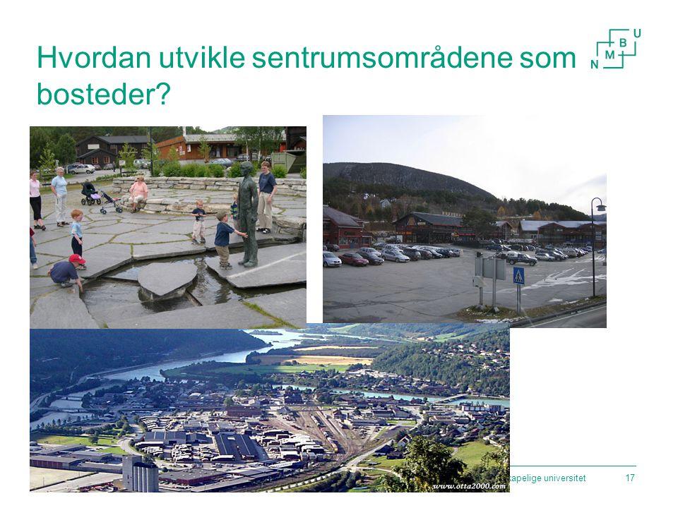 Norges miljø- og biovitenskapelige universitet17 Hvordan utvikle sentrumsområdene som bosteder?