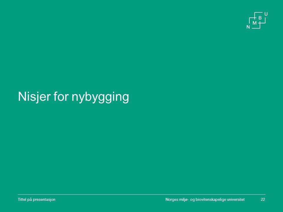 Norges miljø- og biovitenskapelige universitetTittel på presentasjon22 Nisjer for nybygging