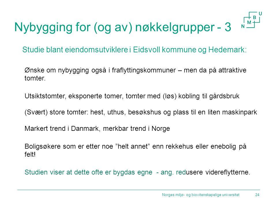 Nybygging for (og av) nøkkelgrupper - 3 Studie blant eiendomsutviklere i Eidsvoll kommune og Hedemark: Ønske om nybygging også i fraflyttingskommuner