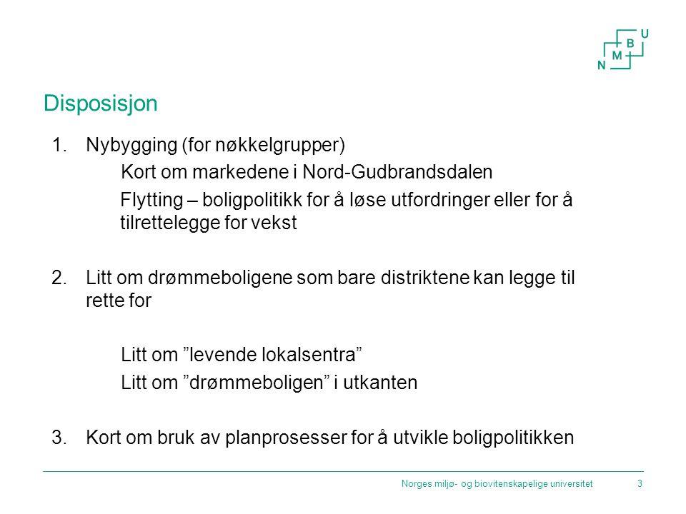 Disposisjon 1.Nybygging (for nøkkelgrupper) Kort om markedene i Nord-Gudbrandsdalen Flytting – boligpolitikk for å løse utfordringer eller for å tilre