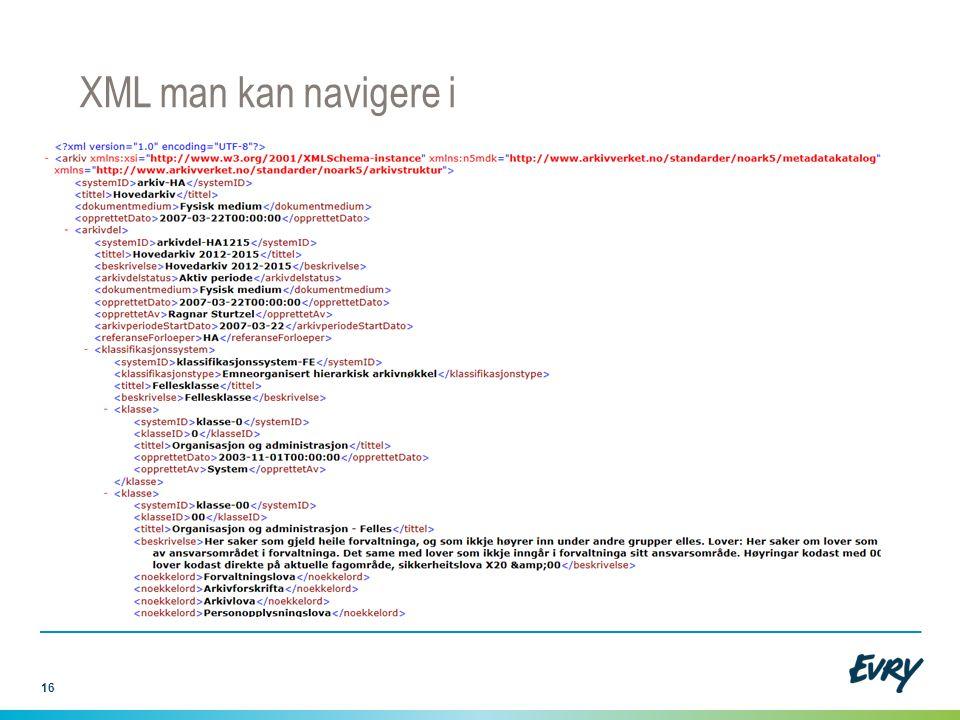 16 XML man kan navigere i