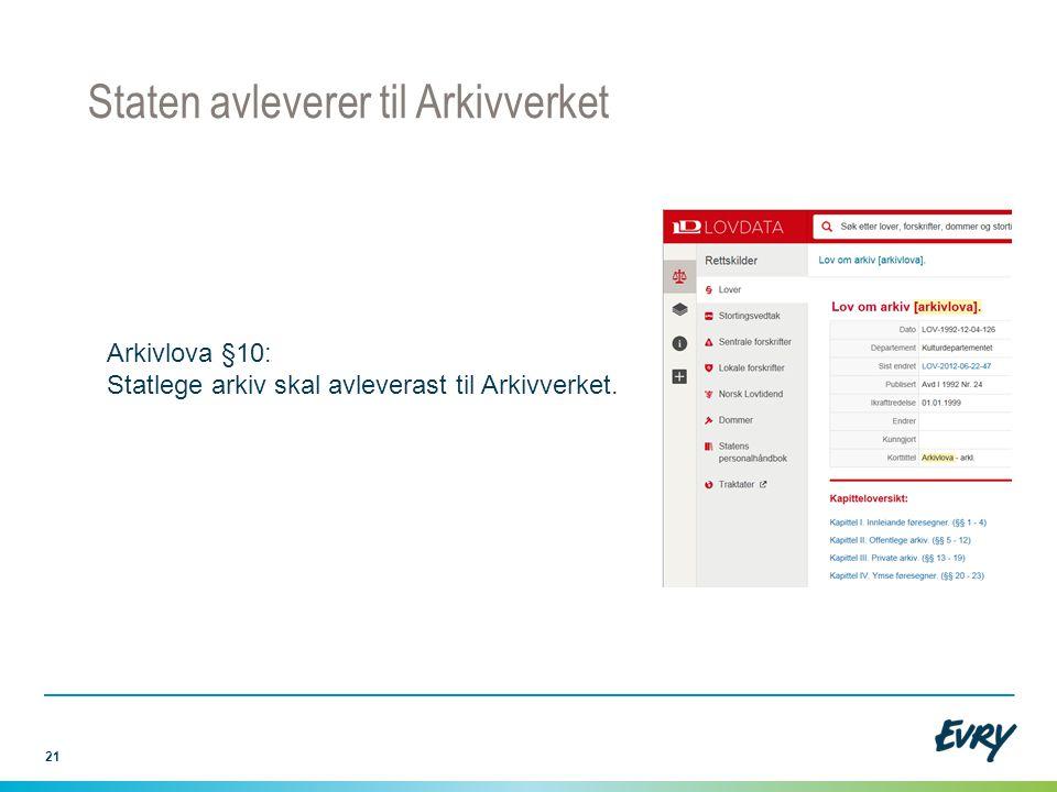 21 Staten avleverer til Arkivverket Arkivlova §10: Statlege arkiv skal avleverast til Arkivverket.