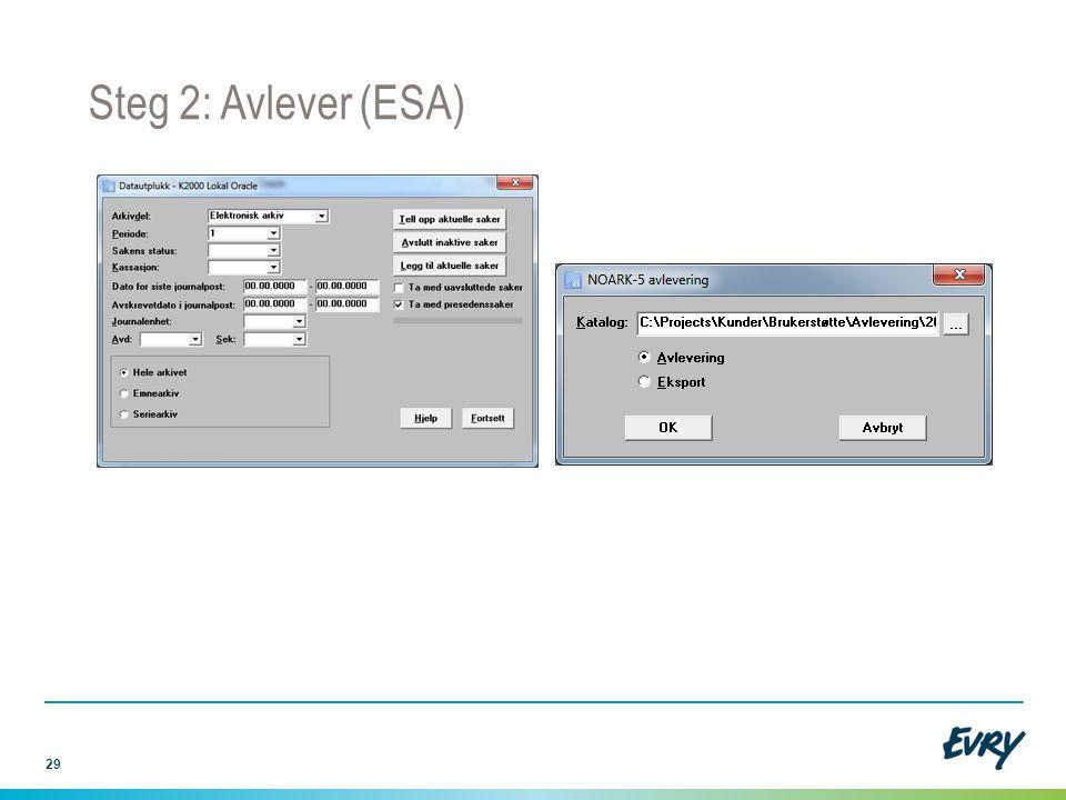 29 Steg 2: Avlever (ESA)