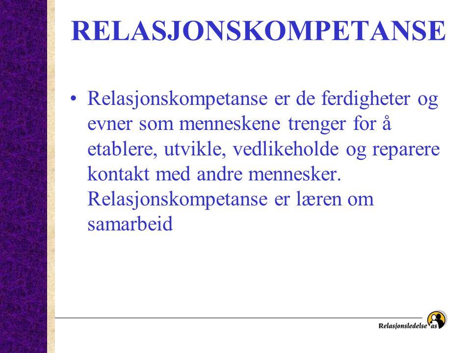 RELASJONSKOMPETANSE Relasjonskompetanse er de ferdigheter og evner som menneskene trenger for å etablere, utvikle, vedlikeholde og reparere kontakt me