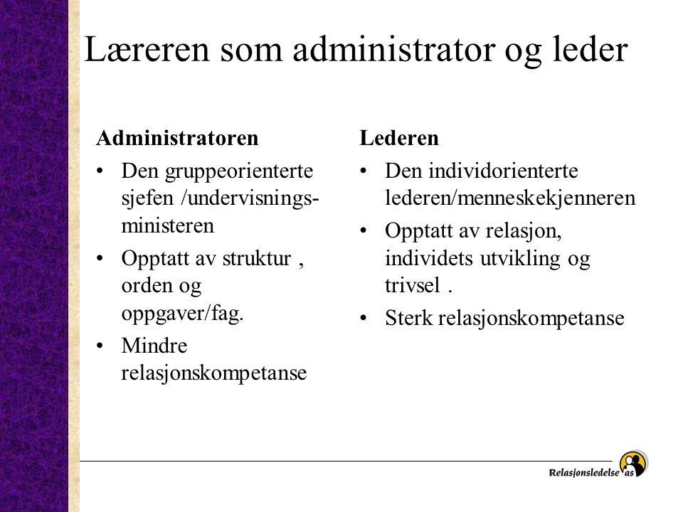 Læreren som administrator og leder Administratoren Den gruppeorienterte sjefen /undervisnings- ministeren Opptatt av struktur, orden og oppgaver/fag.