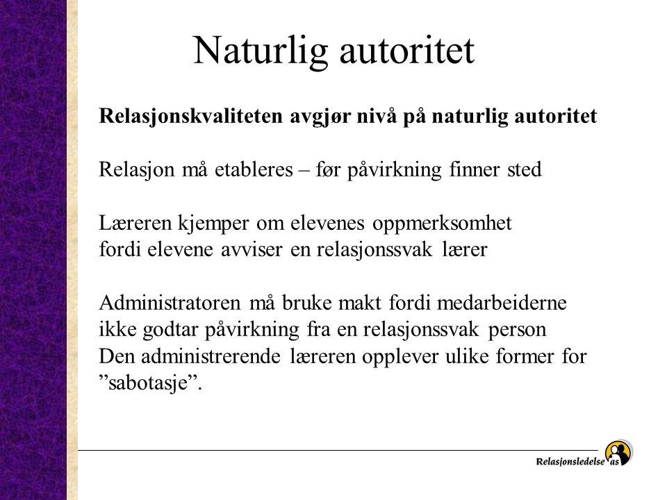 Naturlig autoritet Relasjonskvaliteten avgjør nivå på naturlig autoritet Relasjon må etableres – før påvirkning finner sted Læreren kjemper om elevene