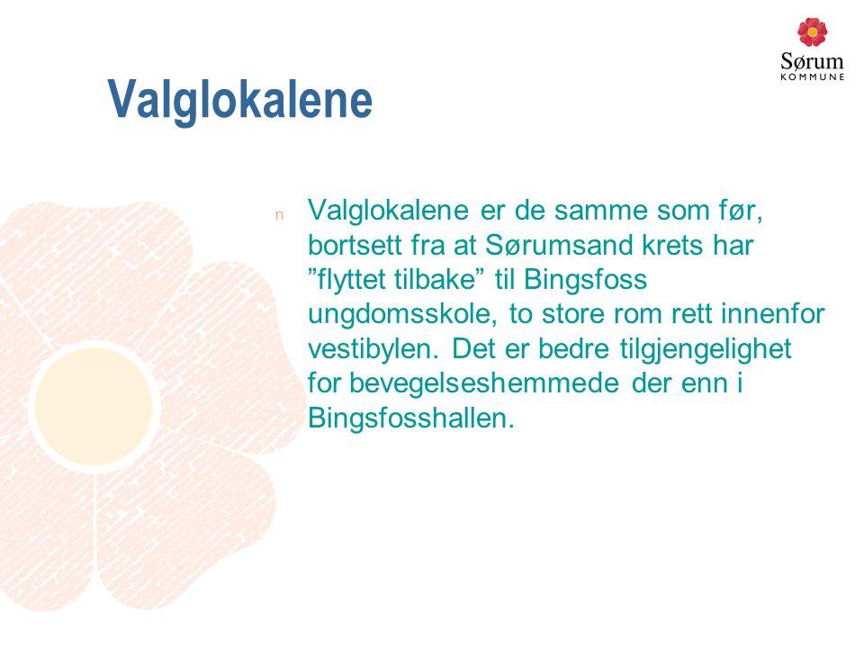 Valglokalene n Valglokalene er de samme som før, bortsett fra at Sørumsand krets har flyttet tilbake til Bingsfoss ungdomsskole, to store rom rett innenfor vestibylen.