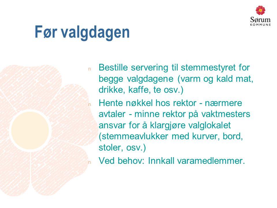 Stemmegivningen, normal prosedyre (3) 3.Avkrysseren stempler seddelen i eget felt, evt.