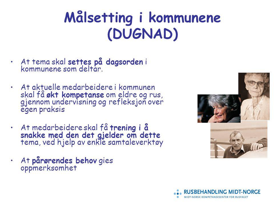 16 Målsetting i kommunene (DUGNAD) At tema skal settes på dagsorden i kommunene som deltar.