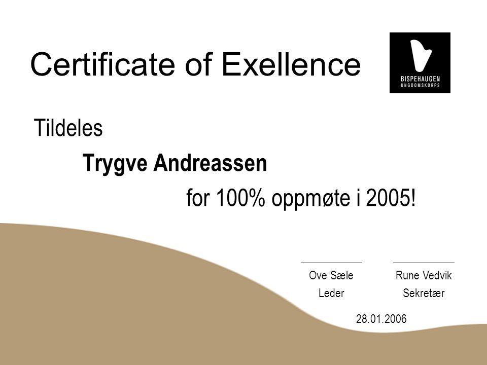 Certificate of Exellence Tildeles Trygve Andreassen for 100% oppmøte i 2005.