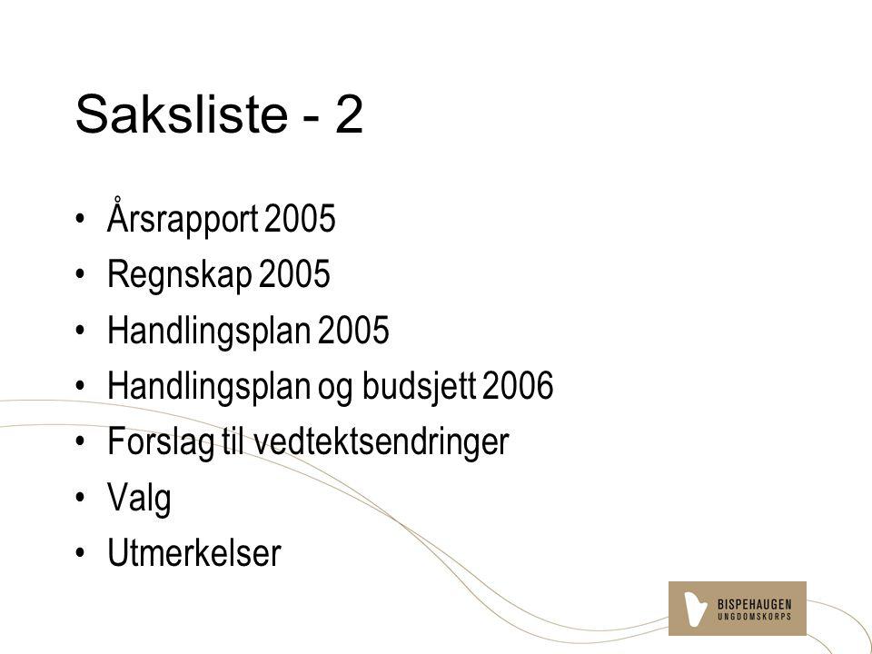 Saksliste - 2 Årsrapport 2005 Regnskap 2005 Handlingsplan 2005 Handlingsplan og budsjett 2006 Forslag til vedtektsendringer Valg Utmerkelser