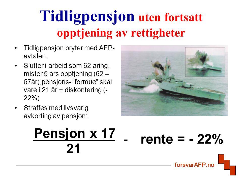 Tidligpensjon uten fortsatt opptjening av rettigheter Tidligpensjon bryter med AFP- avtalen.