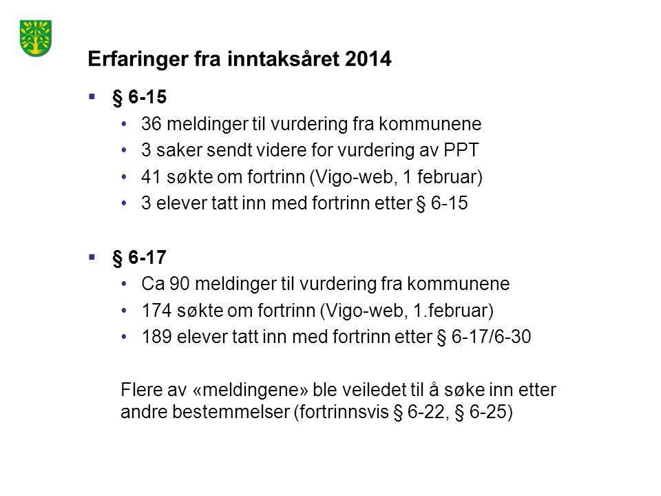 Erfaringer fra inntaksåret 2014  § 6-15 36 meldinger til vurdering fra kommunene 3 saker sendt videre for vurdering av PPT 41 søkte om fortrinn (Vigo