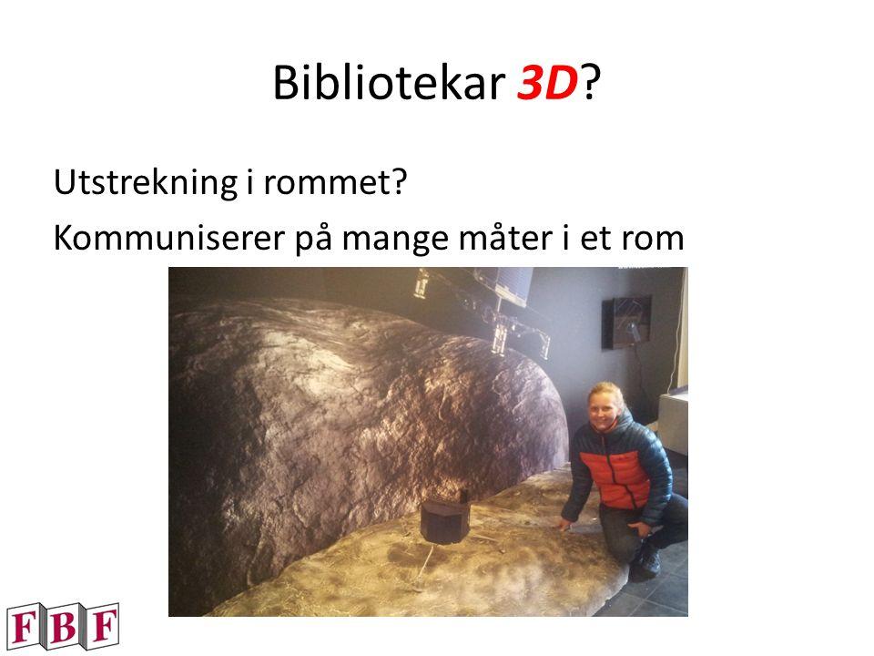 Bibliotekar 3D? Utstrekning i rommet? Kommuniserer på mange måter i et rom