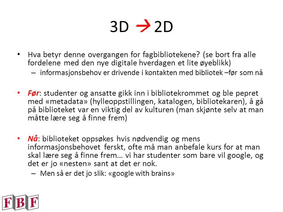 3D  2D Hva betyr denne overgangen for fagbibliotekene.